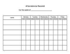 An attendance sign-in and sign-out sheet for parents, intended for ...