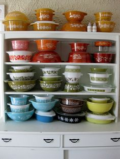 thami mitten's pyrex collection — i collect and have most of the green shelf (2nd from bottom) \\