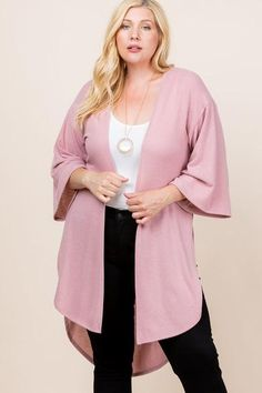 Made In U.S.A 1XL.2XL.3XL Plus Size Solid Hacci Brush Open Front Long Cardigan with Bell Sleeves 74% Rayon 22% Polyester 4% Spandex Mauve EME Plus Size Solid Hacci Brush Open Front Long Cardigan With Bell Sleeves Plus Size Cardigans, Plus Size Tops, Open Front Cardigan, Long Cardigan, Cardigan Sweaters, Mauve, Cardigan Fashion, Plus Size Outfits, Plus Size Fashion