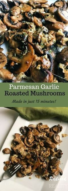 Parmesan Garlic Roasted Mushrooms- delicious and tender these oven roasted mushrooms are a perfect side dish that take under 15 minutes to make!