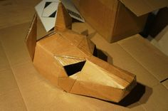 Make your own dog mask from recycled card for fancy by Wintercroft