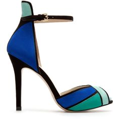 Zara Ankle Strap Sandal ($90) found on Polyvore WHAT COULD BE BETTER? MY FAVORITE COLORS ON ONE SHOE!!