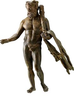 Bronze Statuette of Heracles-Bibax 1st-3rd century CE. Saudi Arabia, His right hand would have held a drinking vessel associated with Dionysus, whose cult was popular in Qaryat al-Faw, Saudi Arabia.
