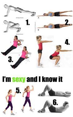 1. 30 plank v jumps  2. 20  side leg lifts  3. 15 chair dips  4. 30 scissor jumps  5. 40 squats  6. 30 crunches