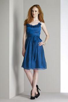 797b391ab31 modern blue spaghetti strap knee length a-line ruffled neckline pleated  chiffon homecoming bridesmaid gown with bow sash