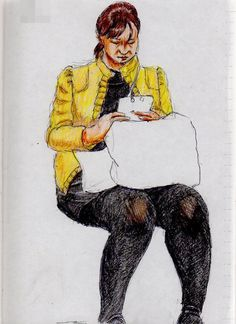 This is a sketch of the lady who put on the yellow jacket I drew in the train.