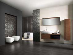 Stonowana minimalistyczna propozycja. Płytki z linii Alva Opoczno i drewniane dodatki nadają wyjątkowy charakter wnętrzu. #bathroom #design #interior #amazing #bath #water #sophisticated #beautiful #glamour #minimalism