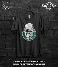 Tokyo Ghoul, Kaneki Ken T-shirt (anime tokyo kushu starbucks funny otaku flcl)  If you're going to buy more than 3 t-shirts / totes please let us know