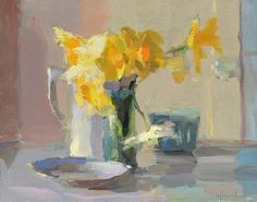 Daffodils and Berry Carton, oil on linen, 11 x 14""