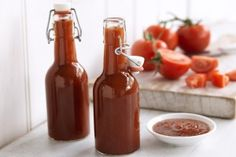 "Ketchup recipe Matt Preston says, ""As you may not have a wonderful mother-in-law like mine here's a recipe for tomato sauce that should give some warm spicy zing to your footy pies. This is not an overly sweet sauce. Tomato Ketchup Recipe, Homemade Ketchup, Homemade Tomato Sauce, Sauce Recipes, Cooking Recipes, Healthy Recipes, Fresh Tomato Recipes, Tomato Chutney, Hot Sauce Bottles"