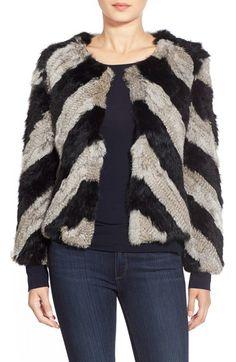 Love Token Chevron Stripe Genuine Rabbit Fur Jacket available at #Nordstrom