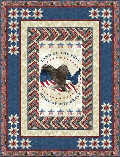 Stonehenge Land of the Free Stars and Stripes - Braided Chevron Free Quilt Pattern by Northcott Chevron Quilt Pattern, Star Quilt Patterns, Star Quilt Blocks, Star Quilts, Cowboy Quilt, Quilt Of Valor, Patriotic Quilts, Quilt Border, Panel Quilts