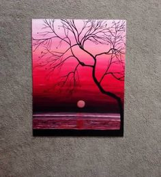 Pink and red sky painting with tree silhouette and moon over the water. Pretty beginner painting idea.