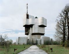 Modern Croatia. Petrova Gora - dilapidated monument to Serbian victims of Croatian ww2 genocide. Now used as an antenna pole.