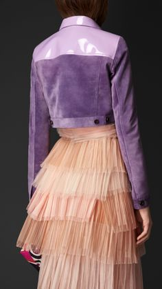 Cropped Suede Jacket with Patent Trim | Burberry
