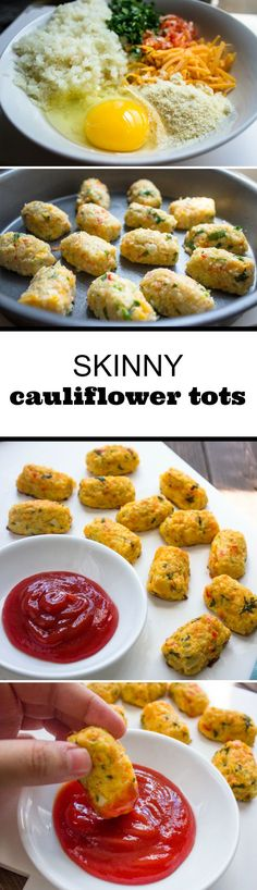 Skinny Baked Cauliflower Tots // 21 Day Fix // fitness // fitspo // workout // motivation // exercise // Meal Prep // diet // nutrition // Inspiration // fitfood // fitfam // clean eating // recipe // recipes Healthy Cooking, Healthy Snacks, Healthy Eating, Healthy Sides, Vegetable Recipes, Vegetarian Recipes, Healthy Recipes, Dukan Diet Recipes, Yummy Recipes