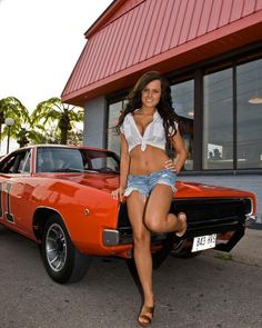 """1969 Dodge Charger R/T """"General Lee"""" Both hot! Hot Cars, Sexy Cars, Trucks And Girls, Car Girls, Girl Car, Cars With Girls, Honda Civic, Mini Cooper S Jcw, Bicicletas Raleigh"""