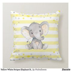 Shop Yellow White Stripes Elephant Baby Shower Nursery Throw Pillow created by ViolinEvents. Elephant Baby Rooms, Elephant Baby Showers, Elephant Themed Nursery, Elephant Birthday, Yellow Nursery Decor, Nursery Ideas, Unisex Nursery Themes, Nursery Room, Boy Room