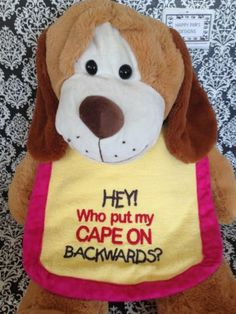 """""""Whot Put My Cape"""" Embroidered Large Dog Drool Bib Yellow Terrycloth Pink Trim 