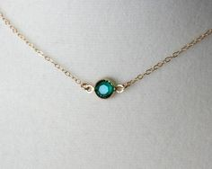Emerald green crystal necklace – gold filled chain – small dainty gold necklace, simple everyday jewelry, bridesmaid gifts, emerald necklace. $22.00, via Etsy.