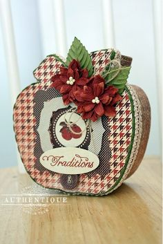 Altered apple box with Seasons Autumn by @Authentique Paper by Shellye McDaniel #autumn #fall_crafts #apple