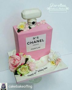Chanel No 5 perfume bottle cake