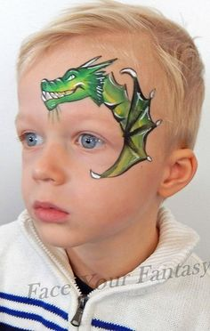 Dragon - I like the face and body details on this one but wouldn't do the wings like that Dinosaur Face Painting, Monster Face Painting, Dragon Face Painting, Face Painting For Boys, Face Painting Designs, Body Painting, St Jean Baptiste, Christmas Face Painting, Cheek Art
