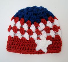 FREE SHIPPING - 4th of July Newborn Crochet Cluster Hat - Red, White & Blue with White Star