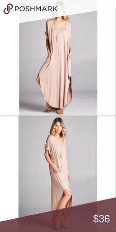 Mocha solid color v-neck dress with side slits Very loose/oversized fit. Has pockets! No trades. Dresses