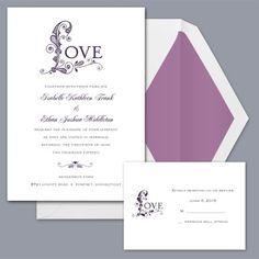Only Love - Plum - Invitation