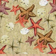 Beach Treasures Starfish Cotton Fabric - Sunset