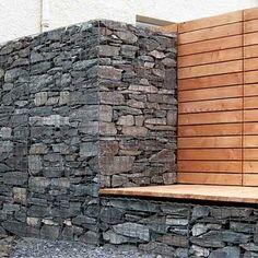 Garten - Detail Trockenmauer - Naturstein - rock wall #gabion