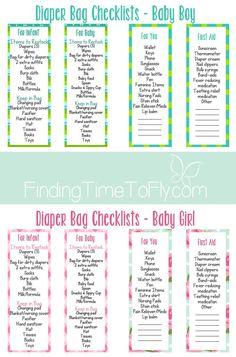 Diaper Bag Checklist - boy - girl