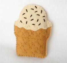 Felt Iphone Case IceCream Cone Vanilla by HeartStringsHandmade, $16.00