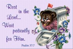 rest in the Lord wait patiently for Him message card copy