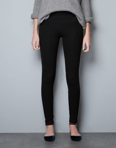 TUXEDO STYLE LEGGINGS WITH LINED WAISTBAND - Trousers - Woman - ZARA