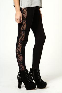 Lace Side Leggings black