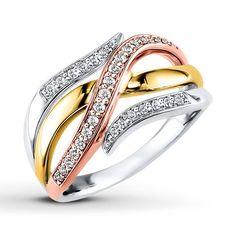 Kay - Diamond Ring 1/4 ct tw Round-cut 10K Tri-Color Gold