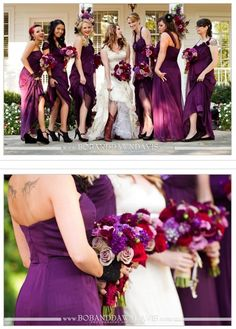 Plum and red for a fall wedding -- I want these colors! Plum dress with red or burnt orange shoes