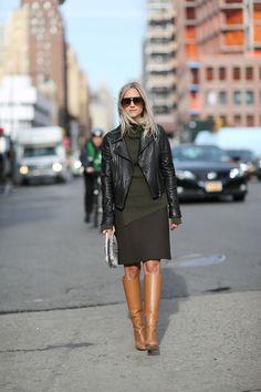 Pauw leather jacket // Zara knit // Zara skirt // Celine boots // Capretto clutch // Celine sunglasses