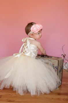 Beautiful  Flower Girl Ivory Lace Satin corset by CHICLILLOVEBUGS