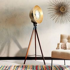 Studio Tripod Floor Lamp, Wood/Gold