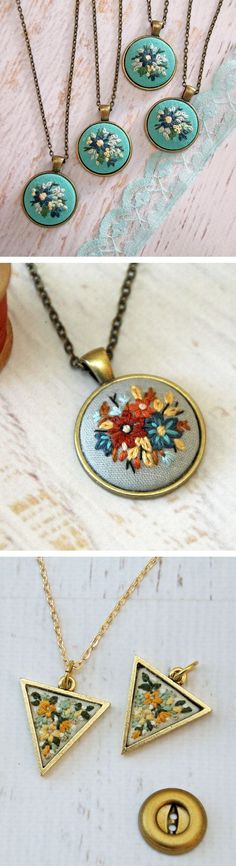 Embroidered necklaces by Sarah Buckley, aka Itty Bitty Bunnies // embroidery // gifts for embroidery lovers