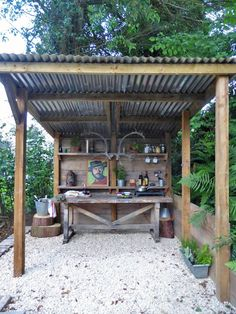 The ultimate garden or allotment shelter. I shall be making this with transparent corrugated roof sheets to allow more light into the plot. Proper man cave.