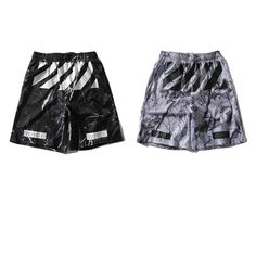 2017 Summer Style High Quality Off White Shorts Casual Sportswear Shorts Knee Length Marble Pattern Mesh Print Shorts