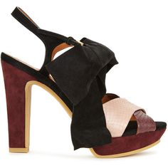 See by Chloé Burgundy suede and watersnake sandals (£275) ❤ liked on Polyvore featuring shoes and sandals