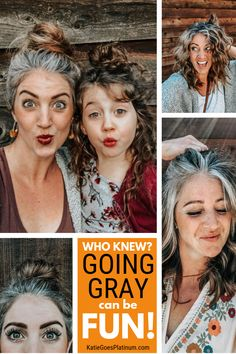 Amanda switched to an all-natural lifestyle in her early and that inspired her to embrace her natural grey hair. She has some of the most fun and inspiring gray hair transition photos I've ever seen. Check them out if you are thinking about ditching Grey Hair Tan Skin, Grey Hair Roots, Grey Curly Hair, Long Gray Hair, Curly Hair Styles, Natural Hair Styles, Grey Hair Natural, Grey Brown Hair, Grey Hair Dye