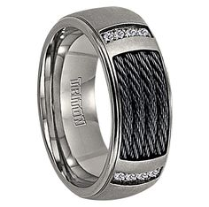 Mens Wedding Bands - 1/12 cwt Genuine Diamond Nitinol Cable Ring Titanium - J220T, $339.99 (http://www.mensweddingbands.com/1-12-cwt-genuine-diamond-nitinol-cable-ring-titanium-j220t/)