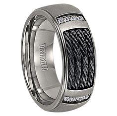 Mens Wedding Bands - 1/12 cwt Genuine Diamond Nitinol Cable Ring Titanium - J220T, $339.99 (http://www.mensweddingbands.com/1-12-cwt-genuine-diamond-nitinol-cable-ring-titanium-j220t/)