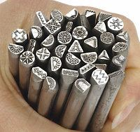 """Set of 39 stamps from the """"Traditional"""" line of stamps, are Made in the USA using 1/4"""" (6.35mm) diameter round by 3-1/8"""" (80mm) long heat treated steel. The size of the impression varies according to the design with the average being 5/32"""" (4.0mm).   OttoFrei.com"""